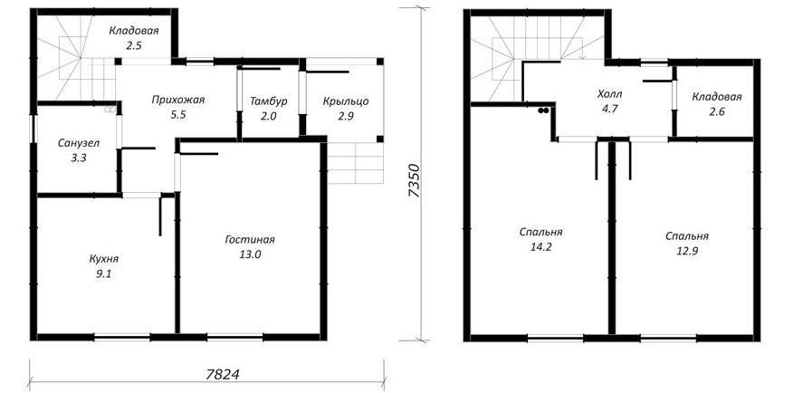 план дома 70м